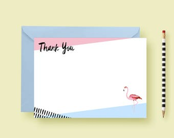 Funky Flamingo Thank You Cards, Flat Stationery Set, Personalized Notes, Custom Note Cards, Birthday Gift, Printable or Printed