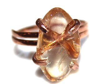 Oregon Sunstone Ring Peach Sunstone Jewelry Rose Gold Vermeil Ring Adjustable Ring Peach Schiller Sunstone Jewelry Delicate Pink Gold Ring