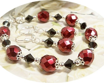 Red and Black, Bracelet and Earrings,  Bridesmaid, Wedding Accessories, Bridesmaid Jewelry, Red and Black Jewelry, Black and Red