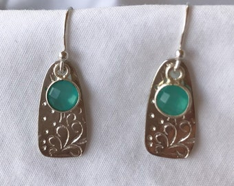 Sterling Silver and Aqua Chalcedony Drop Earrings