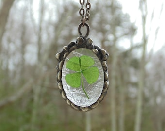 Terrarium necklace, 4 leaf clover jewelry, stained glass pendant necklace, St. Patricks day, lucky Irish shamrock