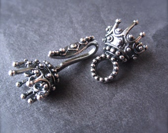 Sterling Plated over White Bronze King's Crown 3 Strand Hook and Eye Clasp - multiple strand connector clasp