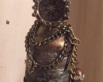 Altered  bottle , embellished  steampunk  bottle , skull  bottle , vintage style art bottle , decorative bottle
