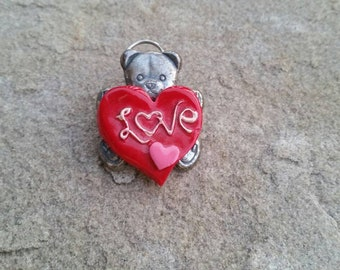 Silver Bear with Red Heart Love Vintage Pin
