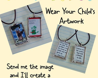 Drawing Jewelry, Soldered Art Charm, Your Child's Artwork, Personalized Art Charm, Glass Necklace, Custom Made, Memory Keepsake, Memorial