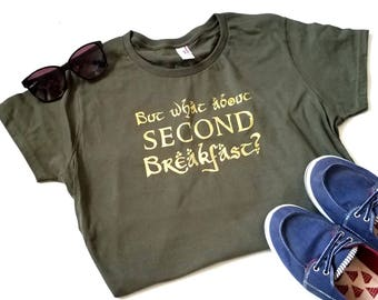Hobbit T-shirt, What About Second Breakfast, Lord of the Rings T-shirt, Hobbit Gift Funny Tshirt, Nerdy Shirt Gift, Geeky Gift, Tolkien Fans