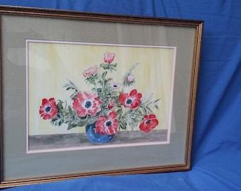 1988 Vintage Original Watercolour Stiil Life Red Flowers Vase.