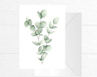 With eucalyptus branches illustration greeting card / watercolor and pencil on the size 5 x 7 / minimalist Style