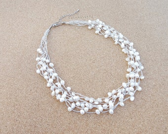 White freshwater pearl necklace on silk thread, Bridal necklace, Wedding jewelry, multistrand necklace, knitted necklace, knit