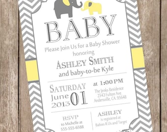 Yellow and Gray Elephant baby shower invitation, girl baby shower invitation, boy baby shower invitation, printable invitation yg1