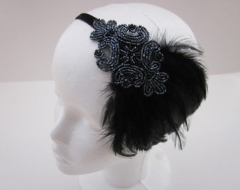 Black Flapper headband, black 1920s headpiece, beaded headdress flapper, gray beaded headband, black feather, great Gatsby 1920s headband