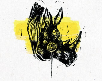 A classic rhino   linocut print