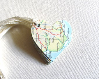 Vintage Map Heart Gift Tags, Travel Theme, Weddings, Showers, Birthdays, Party Favor Tags, Heart Tags, Set of 10