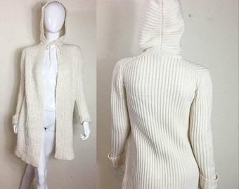 90s VTG GAP Women's Sweater - Size XS - Oversized Cream Ribbed Hooded Chunky