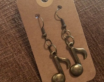 Brushed Brass Music Note earrings