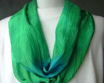 """Hand Dyed Silk Scarf - """"Twisted"""" Greens and blues -  hand painted in shades of Emerald green and sky blue with a unique texture gift idea"""