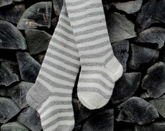 """Knit Christmas Stockings ~22"""" Personalized Hand knit from Wool Striped stockings Gray and White stripes"""