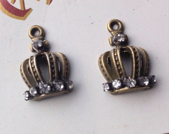 Rhinestone Crown Charms Antique Bronze Finish lot of 2