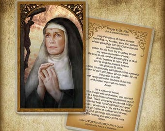 St. Rita  Holy Card or Wood Magnet  #0162