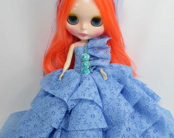 Outfit Clothing wedding blue layer gown dress with veils for Blythe doll 300