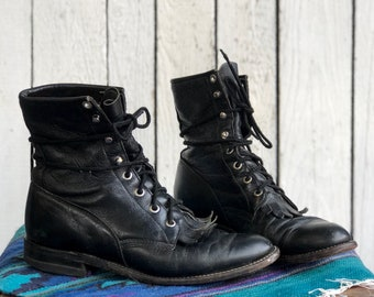 6 C | Women's Black Justin Roper Boots Lace Up Fringe Kiltie Ankle Boots