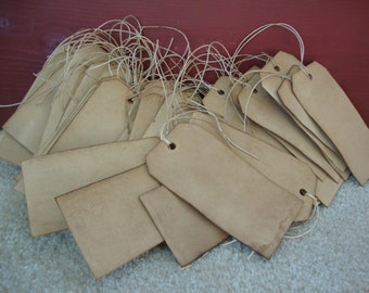 "25 Stained Primitive Hang Tags, sized 4 3/4"" x 2 3/8"", Vintage tags, Antique tags, Primitive tags"