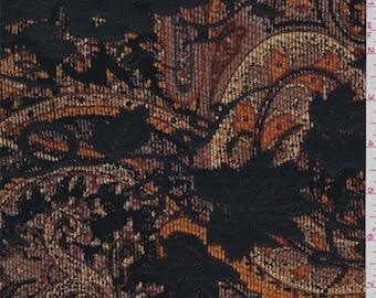 Rust Orange Paisley Vineyard Chenille Jacquard, Fabric By The Yard