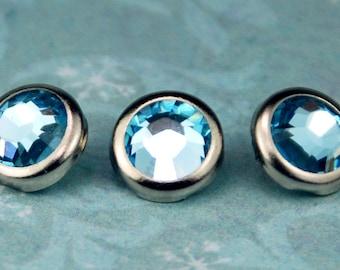 10 Aquamarine Crystal Hair Snaps - Round Silver Rim Edition -- Made with Swarovski Crystal Element Rhinestones