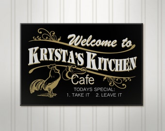 Personalized Kitchen Sign, Cafe Sign, Personalized Sign, Personalized Rooster Sign, Custom Wood Sign