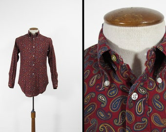 Vintage 60s Paisley Mod Shirt Button Down Collar Red Retro Long Sleeve - Size Small