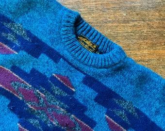 Wool Native American Print Sweater