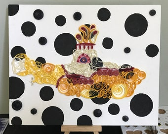 Yellow Submarine quilled canvas