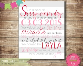 Birth Announcement, Newborn, Printable, Pink, White, Gray, New Baby Announcement