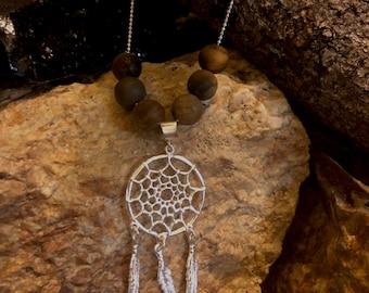Dream catcher pendant silver necklace