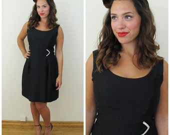 50s 60s Black Cocktail Dress with Rhinestone Buckle, Size Medium