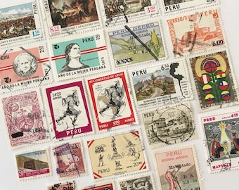 Vintage Peru Cancelled Postage Stamps / lot of 22 off-paper stamps from Peru / canceled stamps - crafting stamps paper ephemera