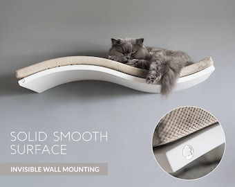 Cat shelf, floating cat shelves, cat perch, cat furniture, SOFT BEIGE cushion, floating cat shelves, white cat perch, wall mounted perch