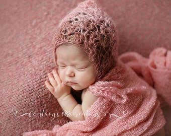 Crochet Newborn Mohair Hat, Baby Girl Bonnet, Infant Lace Bonnet, Mohair Baby Prop, Pink