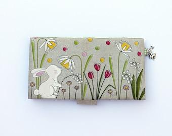 "Door checkbook in natural linen illustrated ""little white rabbit"""