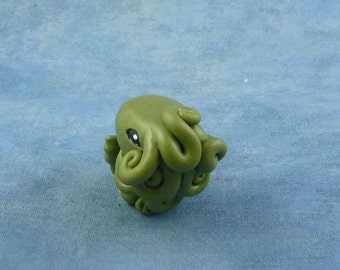 Olive Green Cthulhu Figure, Original Horror Sculpture Inspired by H.P. Lovecraft