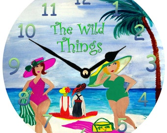 The Wild Things Beach Babes art wall clock from my art