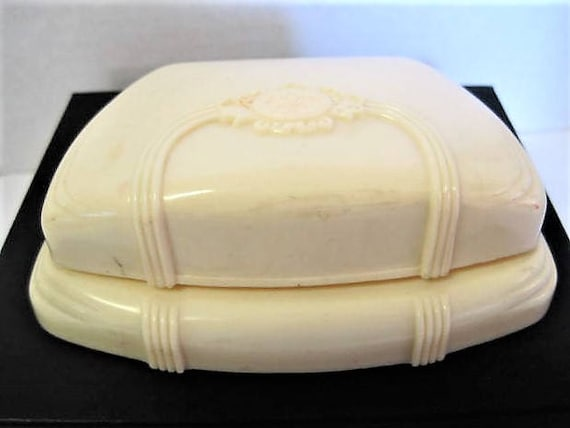 Celluloid Jewelry Box, Art Deco Vanity, Signed Arden, Made in USA,  French Ivory Presentation Box