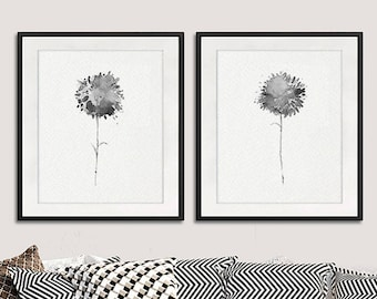 Gray dandelion art print black white decor minimalist art gray botanical print, floral modern decor,  set of 2 prints - B5/B6