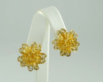 Italian Vermeil Sterling Silver Filigree Flower Form Earrings Italy 925