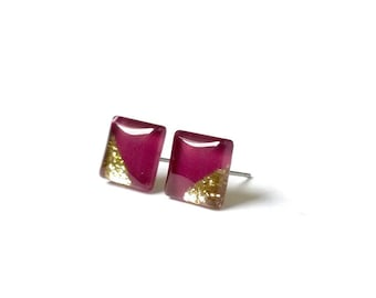 Burgundy and Gold Square Stud Earrings. Beautiful earrings with a gold glitter dipped design. Maroon earrings. Surgical Steel Posts
