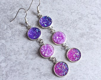 Purple Ombre Druzy Earrings - Magenta, Lilac, Violet, Glitter Cabochons, Silver Hooks, Crystals, Geodes, Bohemian Bride, Bridesmaid Gifts