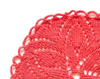 Red Coral hand dyed knitted Doily Vintage lacy doily