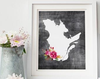 quebec printable map, affiche quebec, affiche fleur, map print gallery wall print