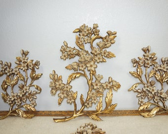 Gold Hollywood Regency Floral Wall Hanging Set of 3 by Syroco / MCM Gold Tone Floral Large Wall Hanging Set of 3 / 50s  Asian Wall Hanging