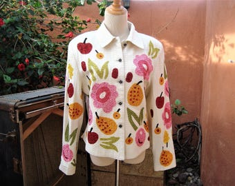 White Vintage Jacket Novelty Colorful Beaded Sequins Fruits & Flowers by Anage Size M